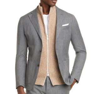 Eleventy Slim Fit Stripe Wool Cotton Sport Coat 40